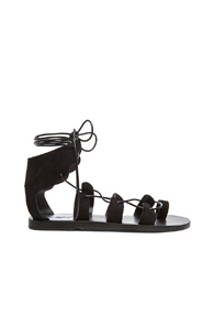 Ancient Greek Sandals Fteroti Suede Sandals in Black