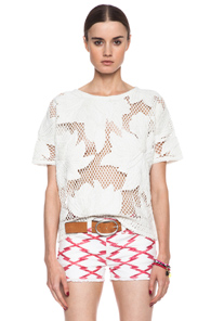 Isabel Marant Etoile Calice Crochet Knit Top in White