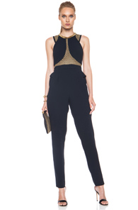 Sass & Bide Just Like Me Poly Jumpsuit in Blue,Metallics
