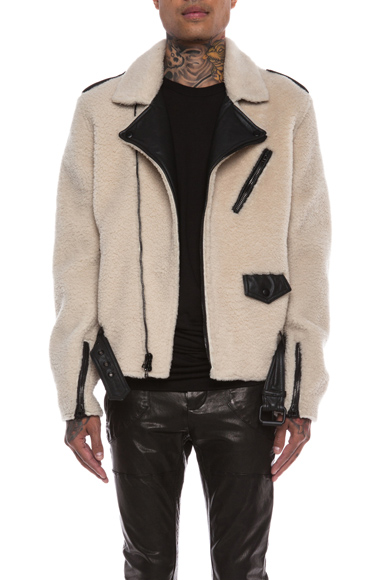 3.1 PHILLIP LIM | Shearling Moto Jacket in Natural & Black