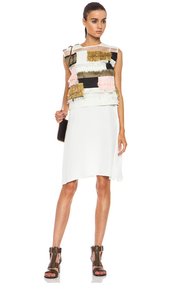 3.1 PHILLIP LIM | Raffia Patchwork Linen-Blend Dress in Cream Multi