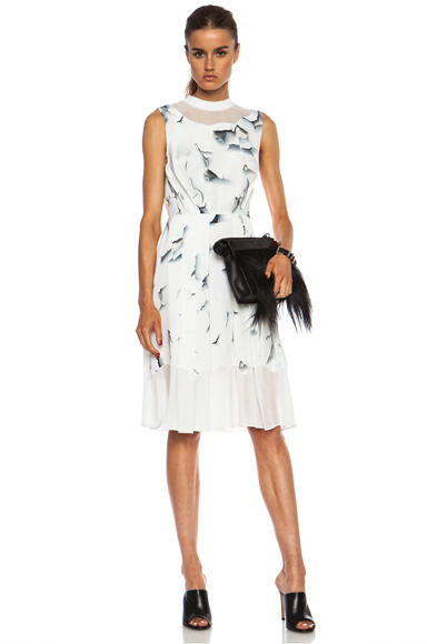 3.1 PHILLIP LIM | Off the Wall Disintegrating Chiffon Pleated Tank Dress in Soft White