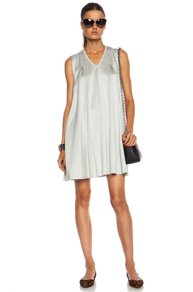 3.1 PHILLIP LIM | Gathered Shoulder V-Neck Cotton-Blend Dress in Grey Melange