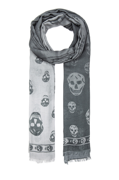 ALEXANDER MCQUEEN | Degrade Modal Skull Scarf in Cloud & Ivory