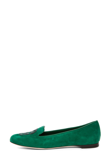 ALEXANDER MCQUEEN | Suede Slipper in Emerald