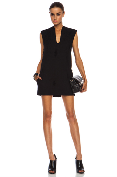 ALEXANDER WANG | Distressed Mini Cotton Dress in Ottoman