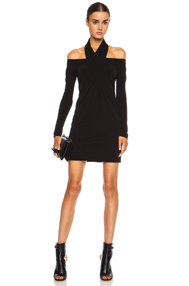 ALEXANDER WANG | Open Shoulder Scarf Draped Viscose-Blend Dress in Jet