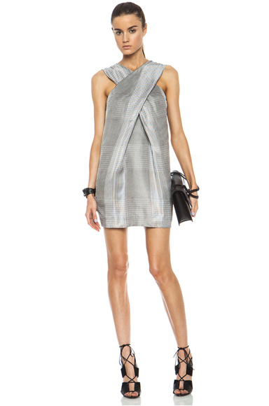 ALEXANDER WANG | X-Drape Viscose Dress in Black & White