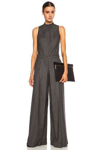 ALEXANDER WANG | Backless Wool Romper with Boxpleat Leg in Black & White