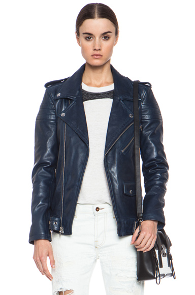 BLK DNM|Iconic Leather Motorcycle Jacket in Ink Blue [1]