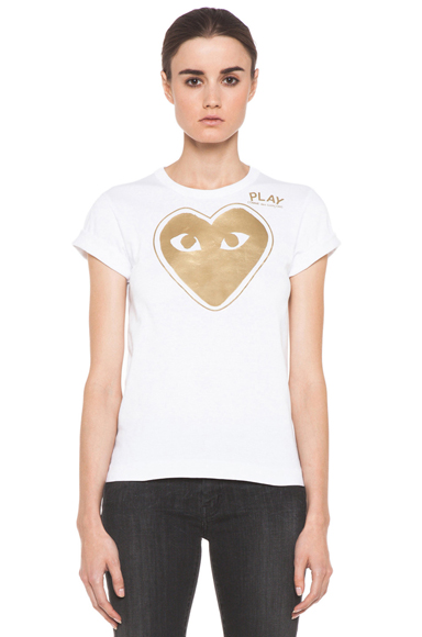 COMME DES GARCONS PLAY | Gold Foil Print Tee in White