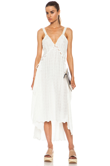 CHLOE | Silk-Blend Cloque Tank Dress in Shirting White