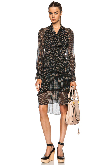 CHLOE | Printed Grain De Riz Tie Front Poly Dress in Black, White & Nude