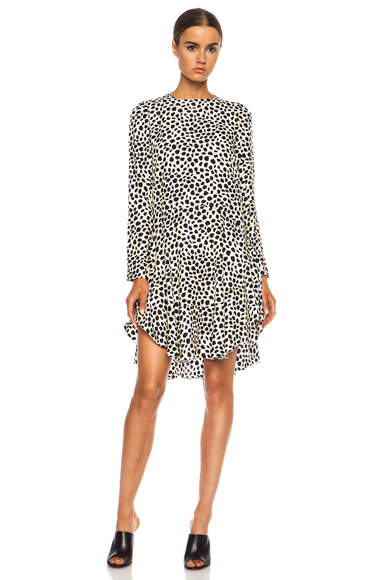 CHLOE | Printed Spots on Dots Jacquard Silk Dress in Black