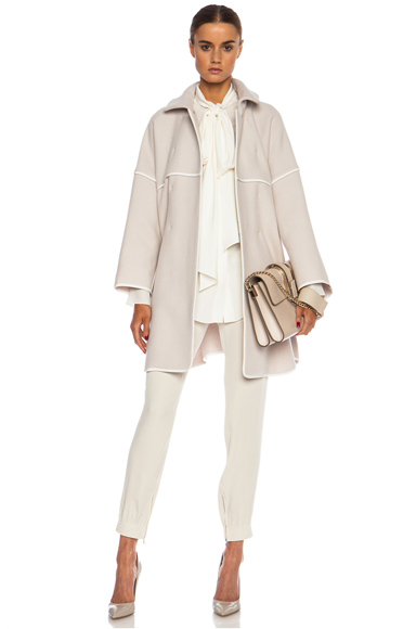 CHLOE | Double Faced Wool Coat in Light Grey &