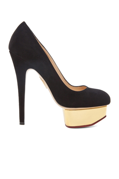 CHARLOTTE OLYMPIA | Dolly Signature Court Island Suede Pumps in Black