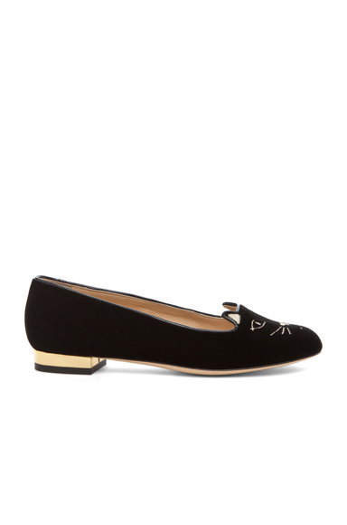 CHARLOTTE OLYMPIA | Kitty Velvet Flats in Black
