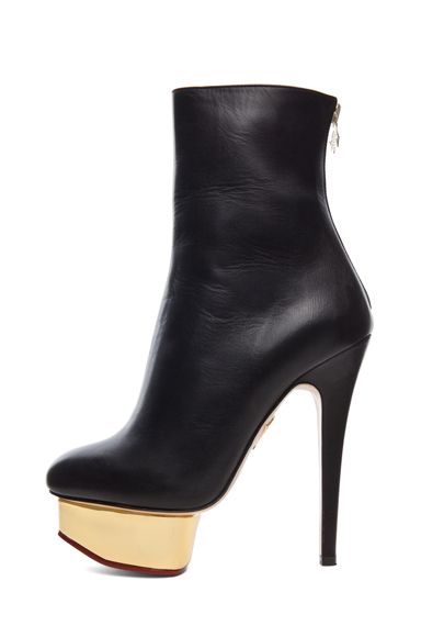 CHARLOTTE OLYMPIA | Lucinda Signature Island Nappa Leather Booties in Black