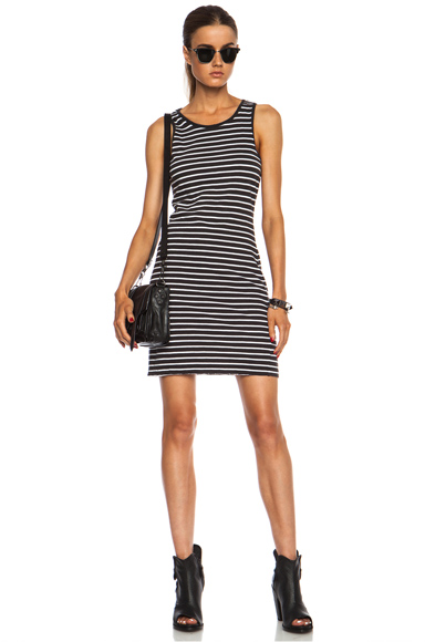 CURRENT/ELLIOTT | The Louella Tank Cotton Dress in Black and White Stripe