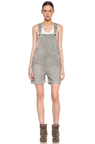 CURRENT/ELLIOTT | Shortall Overalls in Vintage Hickory Stripe