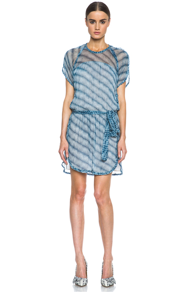 ISABEL MARANT ETOILE | Zaggy Silk Dress in Blue