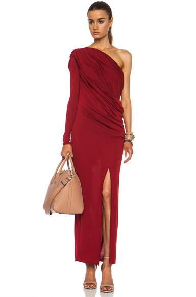 GIVENCHY | Jersey Drape Viscose-Blend Dress in Red