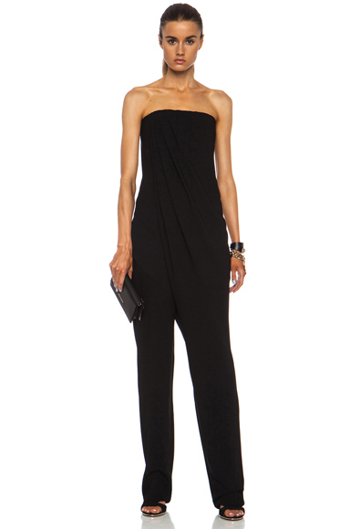 GIVENCHY | Corseted Viscose-Blend Jumpsuit with Pockets in Black