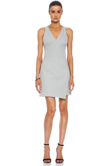 HELMUT LANG | A Line Viscose-Blend Overlap Dress in Nimbus