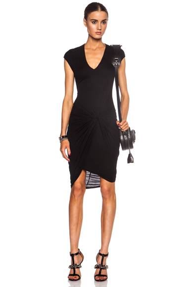 HELMUT LANG | V Neck Twist Micro Modal Dress in Black
