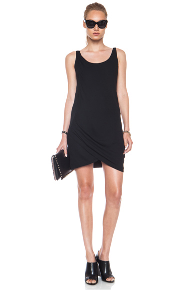 HELMUT LANG | Relic Twist Viscose-Blend Dress in Black