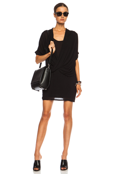 HELMUT LANG | Draped Overlap Viscose Dress in Black