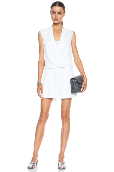 HELMUT LANG | Wrap Modal-Blend Jumpsuit in Optic White