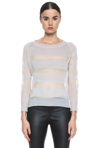 INHABIT | Cotton Sheers Crew Neck Sweater in Freesia