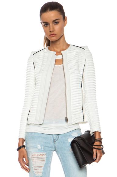 IRO Giana Black Contrast Cotton-Blend Jacket in Ecru [1]