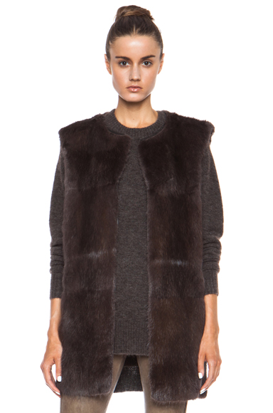 ISABEL MARANT | Adrien Fur Vest in Moleskin Brown