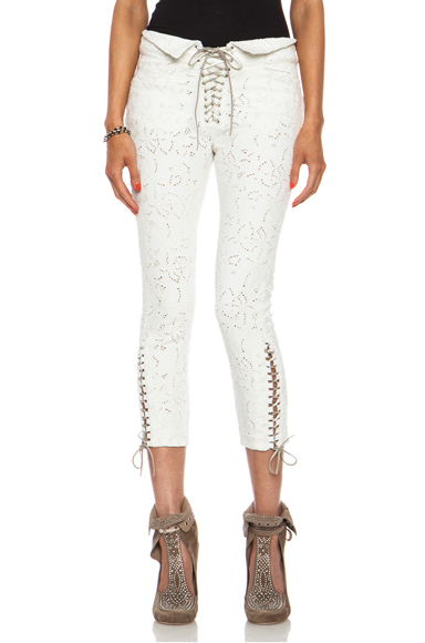 ISABEL MARANT | Isola Embroidered Cotton-Blend Jeans in White