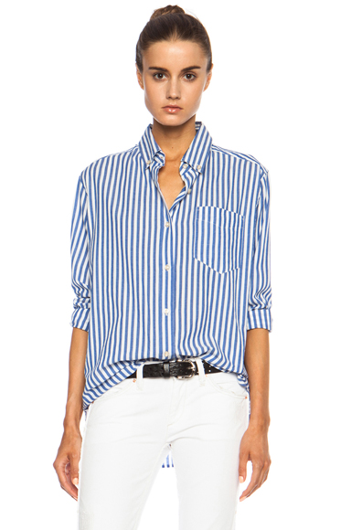 ISABEL MARANT | Eddie Over Striped Cotton Shirt in Blue