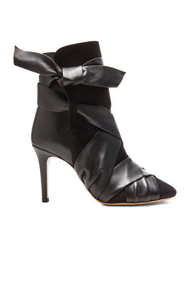 ISABEL MARANT | Angie Calfskin Velvet Leather Booties in Black