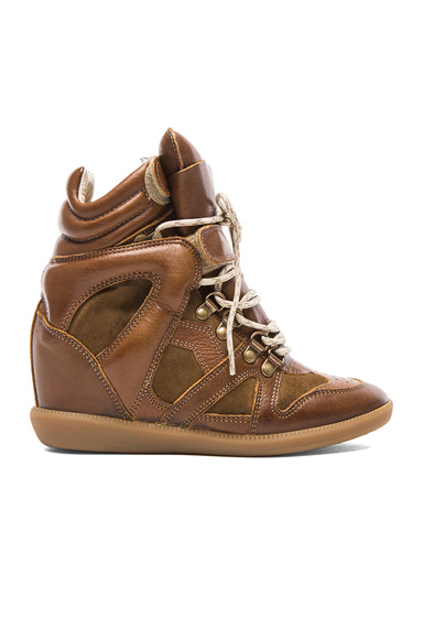 ISABEL MARANT | Buck Tibetan Calfskin Velvet Leather Sneakers in Brown