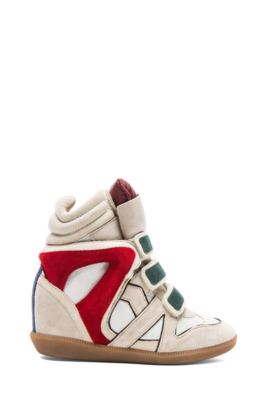 ISABEL MARANT | Wila Over Basket Calfskin Velvet Leather Sneakers in Beige