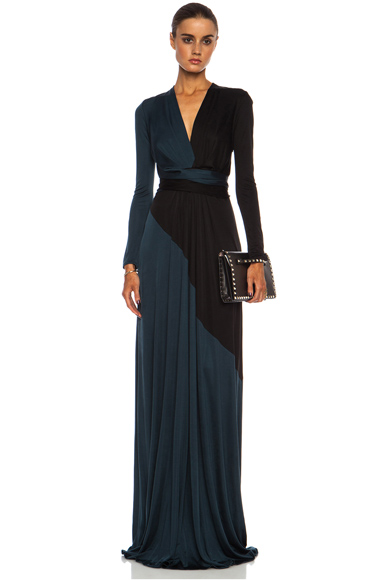 ISSA | Florence Color Block Maxi Silk-Blend Gown in Petrol Mult