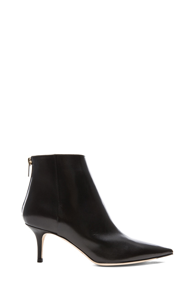 JIMMY CHOO | Leather Ada Fitted Leather Booties in Black