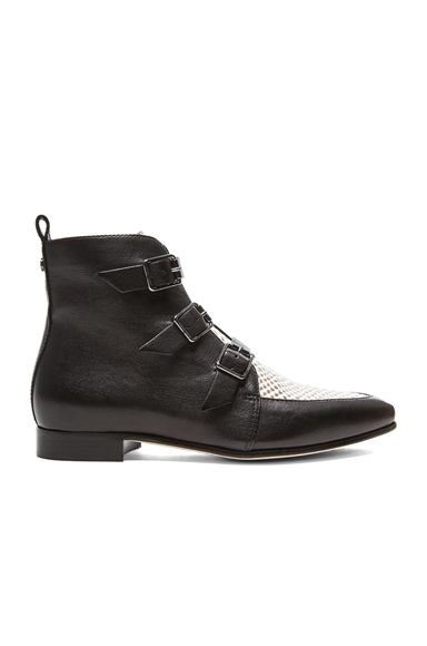 JIMMY CHOO | Marlin Ankle Leather Boots in Black & Natural