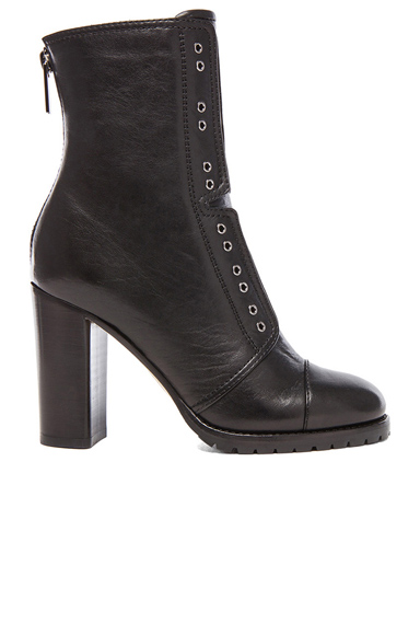 JIMMY CHOO | Leather Datchet Leather Combat Boots in black