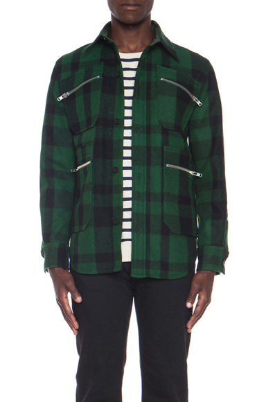 MAISON KITSUNE | Timber Wool Jacket in Green Check