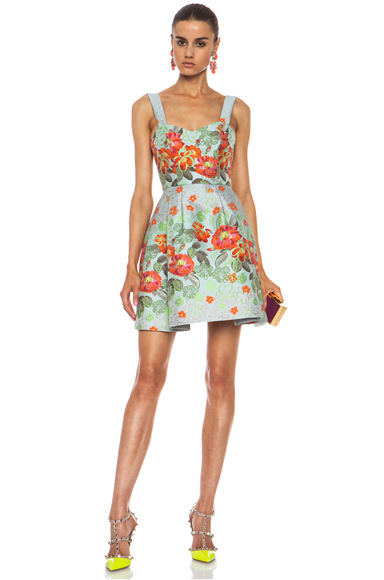 MATTHEW WILLIAMSON | Floral Garden Poly-Blend Brocade Dress in Eau