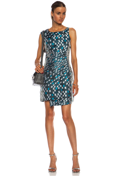 OPENING CEREMONY | Mirrorball Snap Front Poly-Blend Dress in Aqua Multi