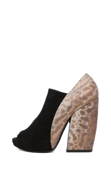 PIERRE HARDY | Suede Open Toe Bootie in Black & Bronze