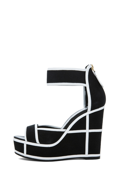 PIERRE HARDY | Canvas Wedges in Black & White