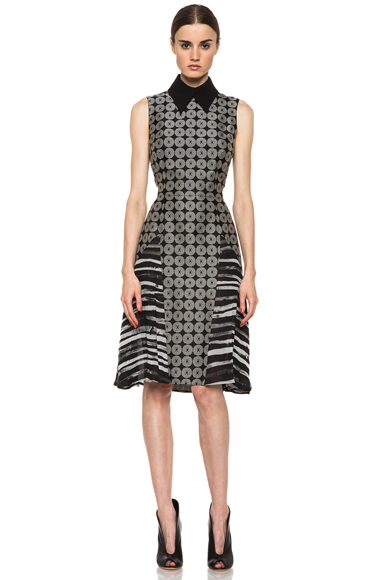 RODARTE | Geometric Silk Motif Dress in Black Multi